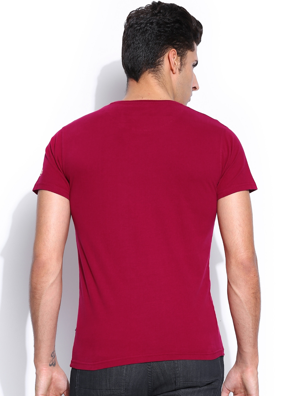 Myntra harvard men maroon printed vintage stamp t shirt for Stamp t shirt printing