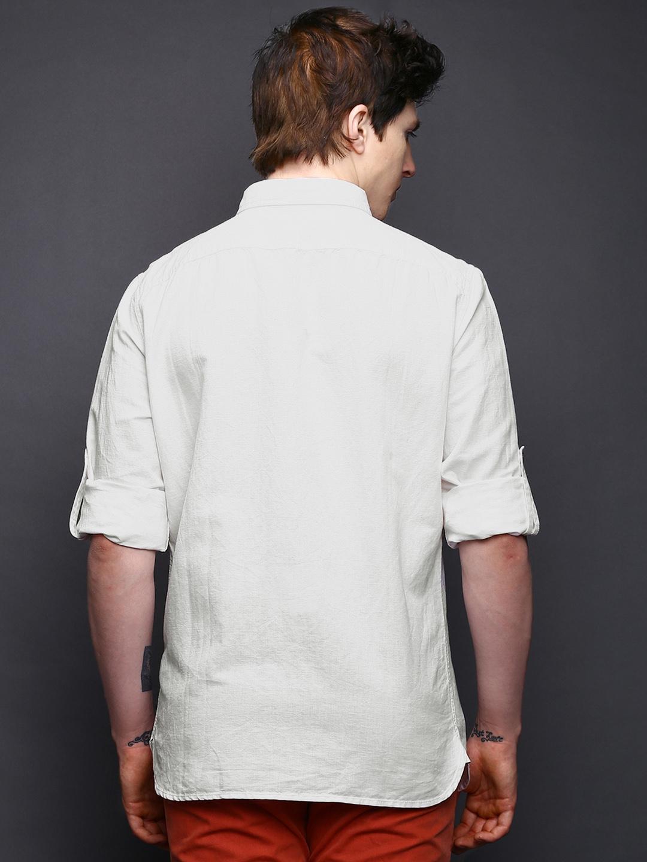 Myntra wrogn men white linen slim fit casual shirt 650187 for Slim fit white linen shirt