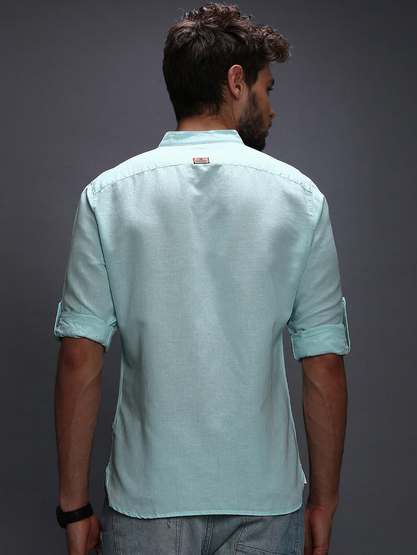 Myntra wrogn men light blue linen slim fit casual shirt for Mens light blue linen shirt
