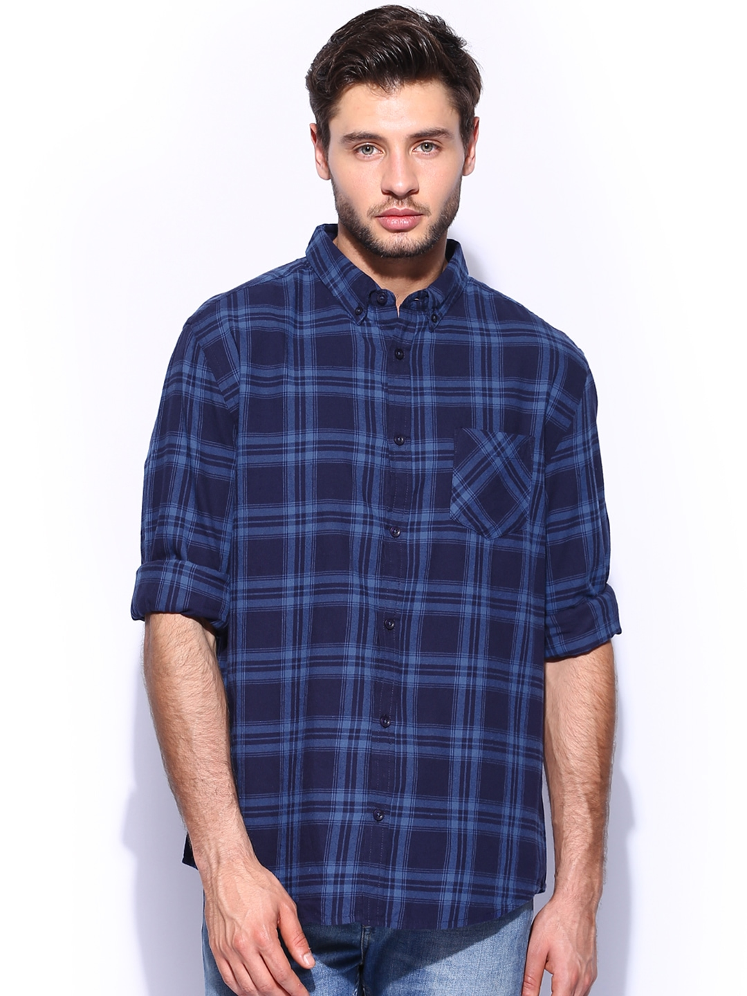 Myntra New Look Men Navy Red Checked Casual Shirt 617982