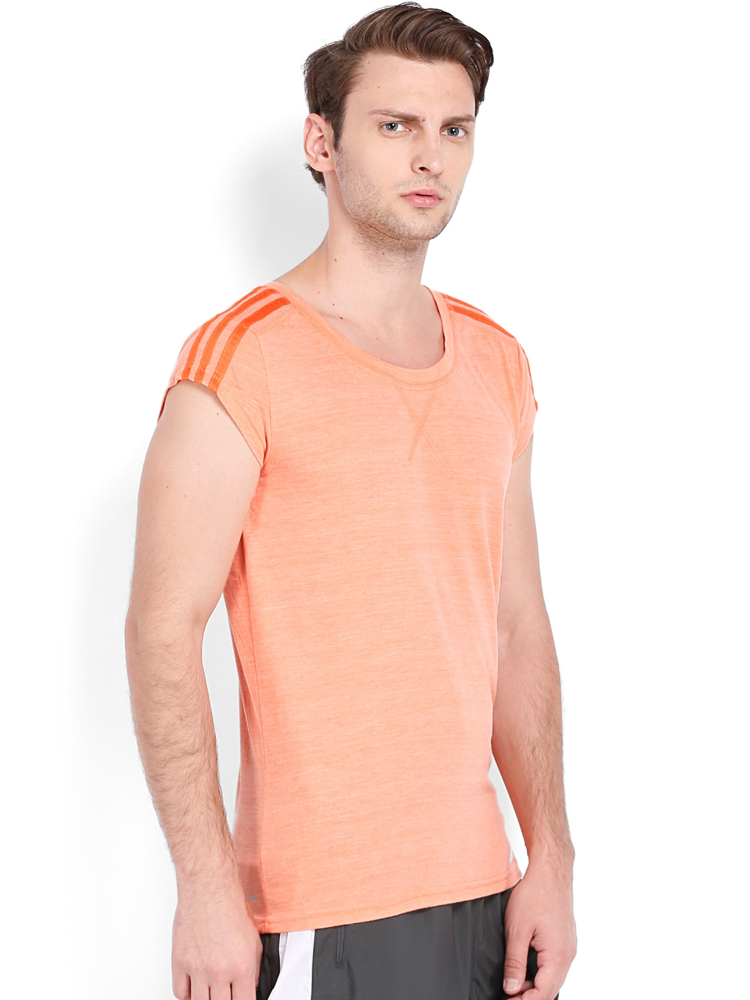 Myntra adidas men coral orange t shirt 653837 buy myntra for Coral shirts for guys