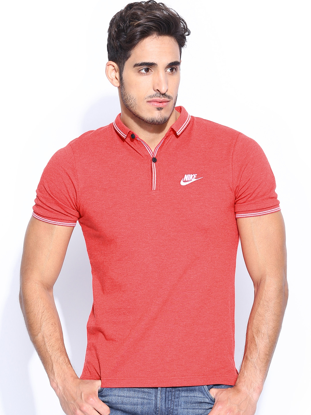 Myntra nike men coral red polo t shirt 655567 buy myntra for Coral shirts for guys