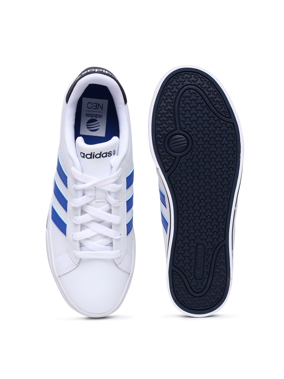 adidas neo leather white blue .