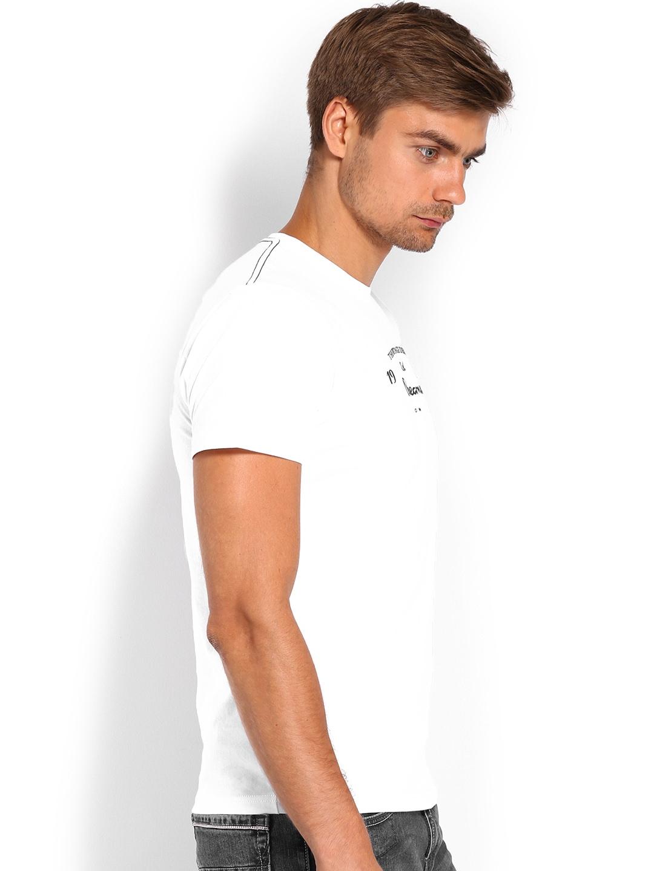 myntra pepe jeans men white printed t shirt 656541 buy. Black Bedroom Furniture Sets. Home Design Ideas