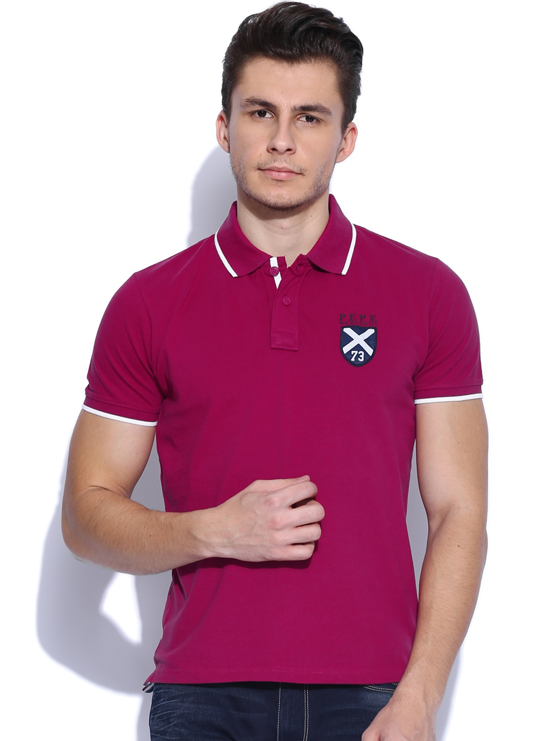 Buy Pepe Jeans Men Dark Pink Polo T Shirt - Tshirts for Men | Myntra