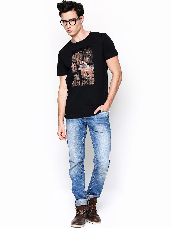 myntra pepe jeans men black printed t shirt 656702 buy. Black Bedroom Furniture Sets. Home Design Ideas