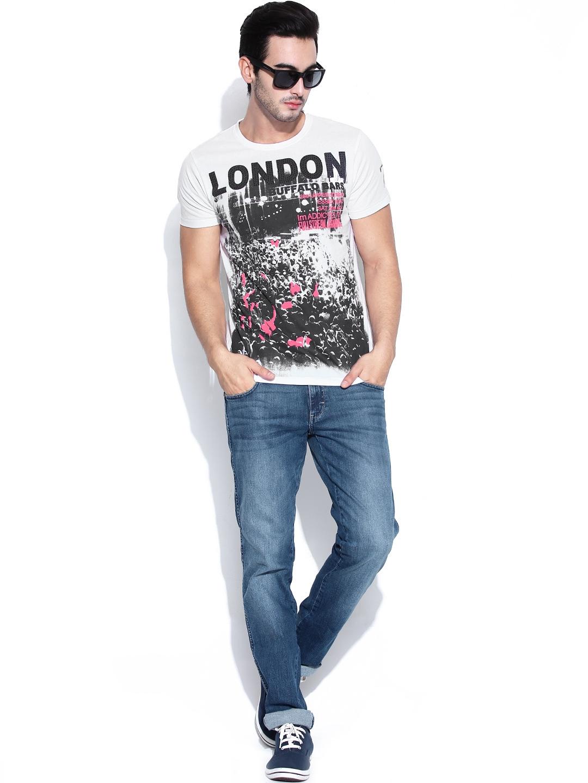 myntra pepe jeans men white printed t shirt 656732 buy. Black Bedroom Furniture Sets. Home Design Ideas