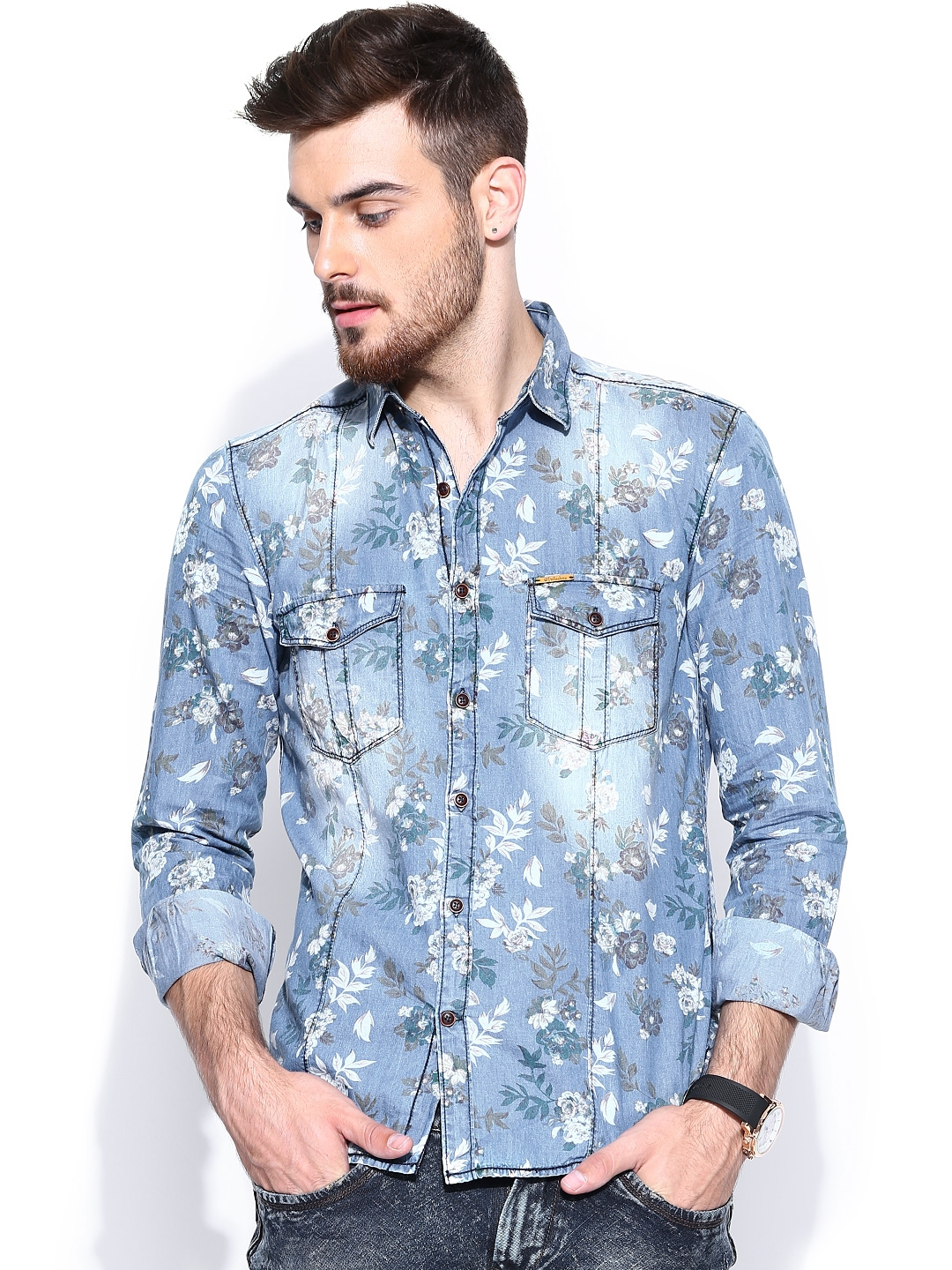 Myntra yellow jeans men blue floral printed liquid fit for Blue floral shirt mens