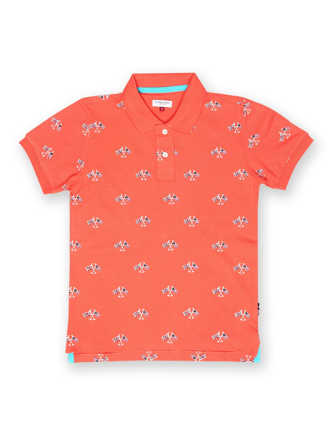 Myntra U S Polo Assn Kids Boys Coral Orange Printed Polo