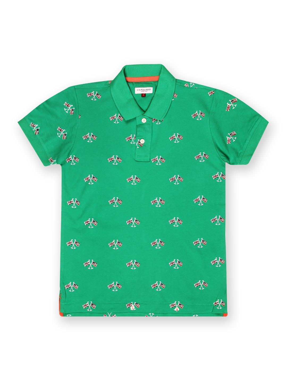 Myntra u s polo assn kids boys green printed polo t shirt for Polo t shirt printing