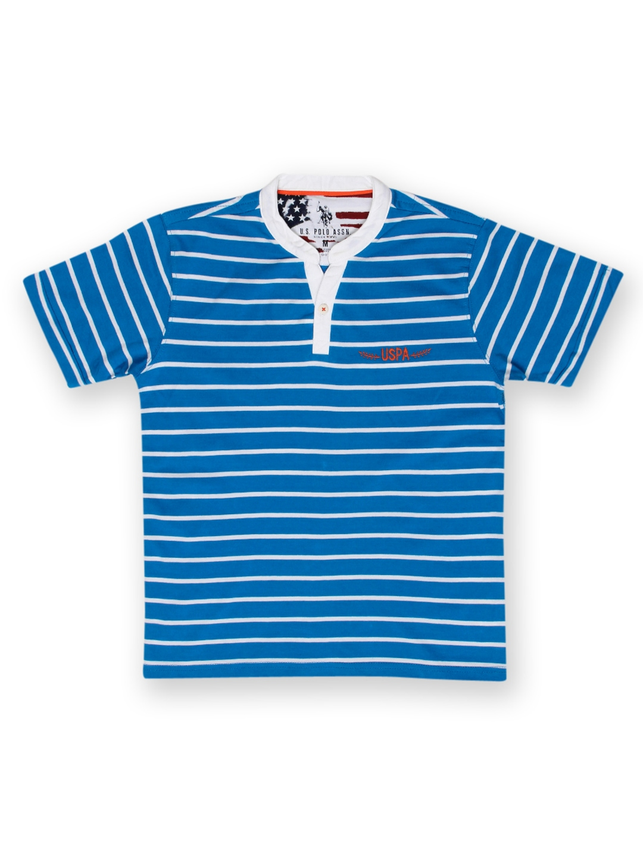Myntra u s polo assn kids boys blue white striped t for Blue white striped t shirt