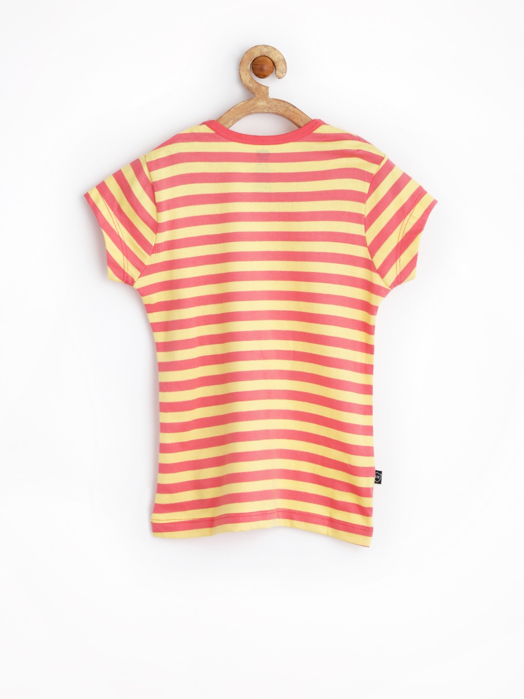 Myntra 612 League Girls Coral Pink Yellow Striped T