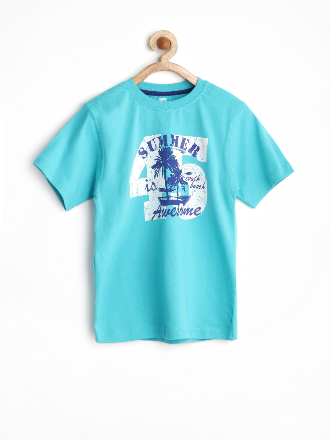 Myntra 612 league boys turquoise blue printed t shirt for Boys printed t shirts