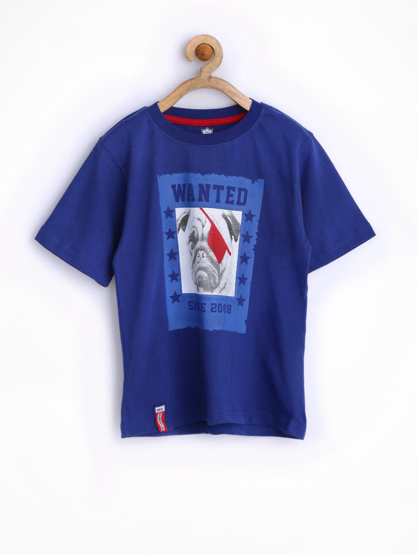 Myntra 612 league boys blue printed t shirt 662150 buy for Boys printed t shirts