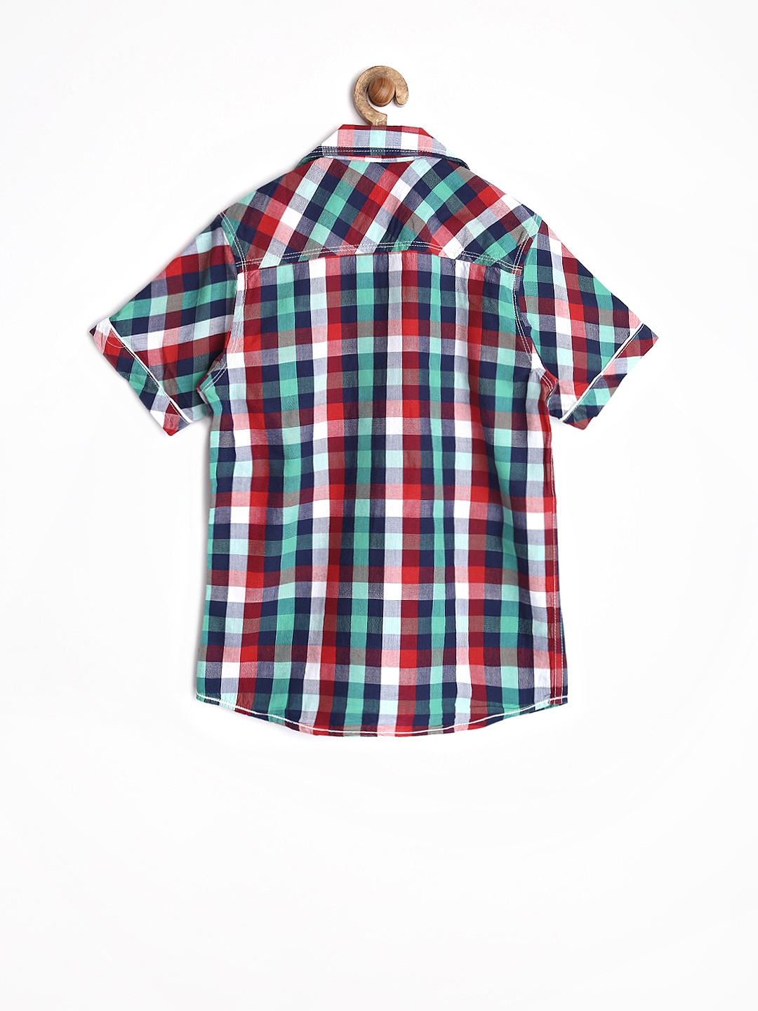 Myntra dreamszone boys red green checked shirt 664115 for Red and green checked shirt