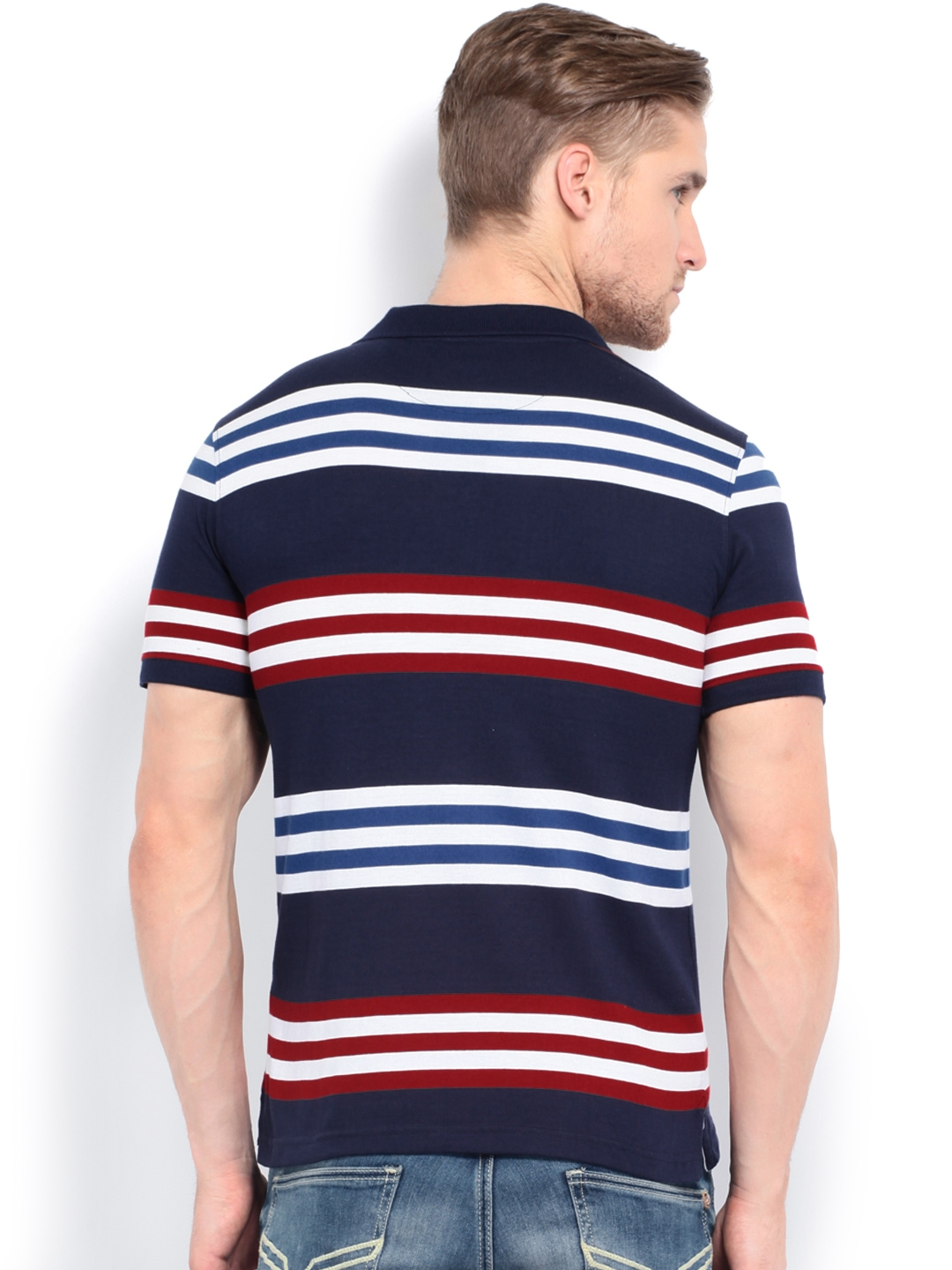 Myntra van heusen men blue red striped polo t shirt for Red white striped polo shirt