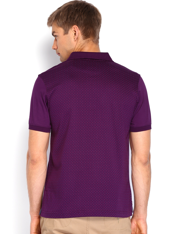 Myntra van heusen men purple printed polo t shirt 666538 for Polo t shirt printing