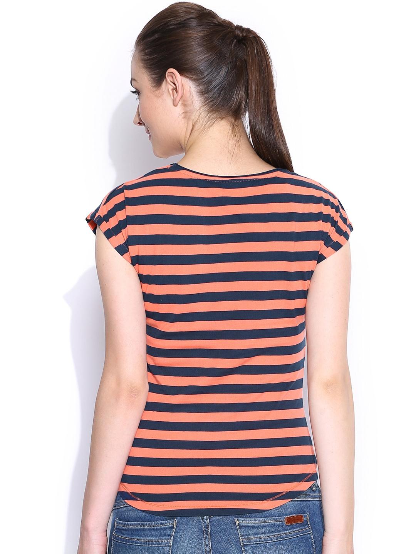 Myntra mast harbour orange navy striped t shirt 667586 for Best striped t shirt