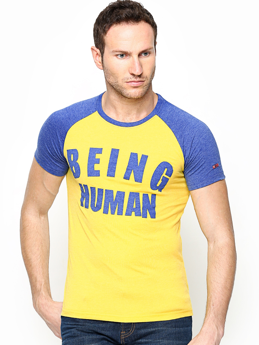Myntra being human clothing men yellow t shirt 668621 for Buy being human t shirts online