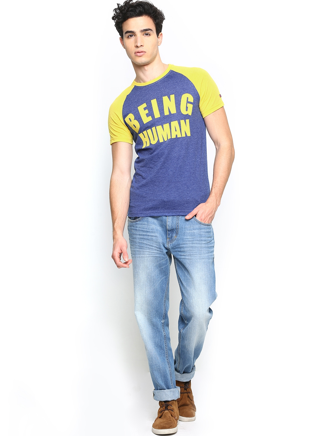 Myntra being human clothing men blue printed t shirt for Buy being human t shirts online