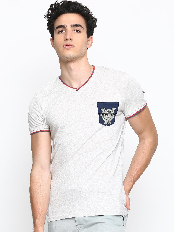 Myntra being human clothing men light grey melange t shirt for Buy being human t shirts online