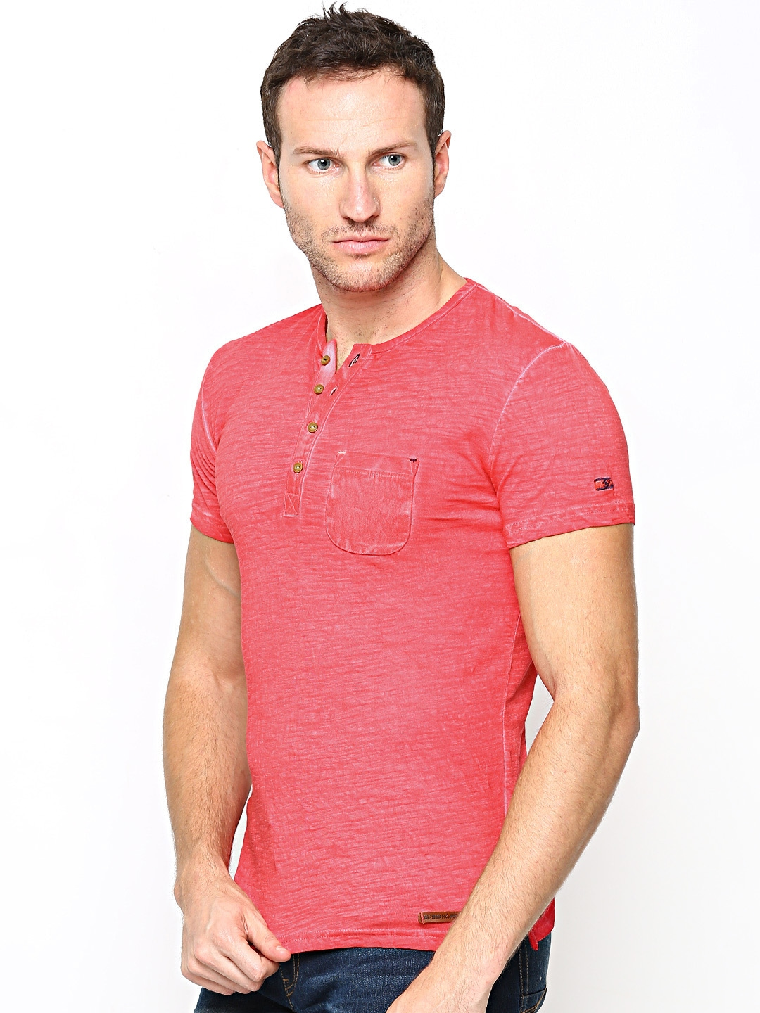 Myntra Being Human Clothing Men Coral Pink Henley T Shirt