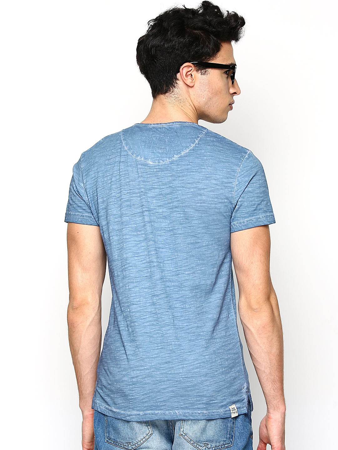 Myntra being human clothing men blue henley t shirt 668637 for Buy being human t shirts online