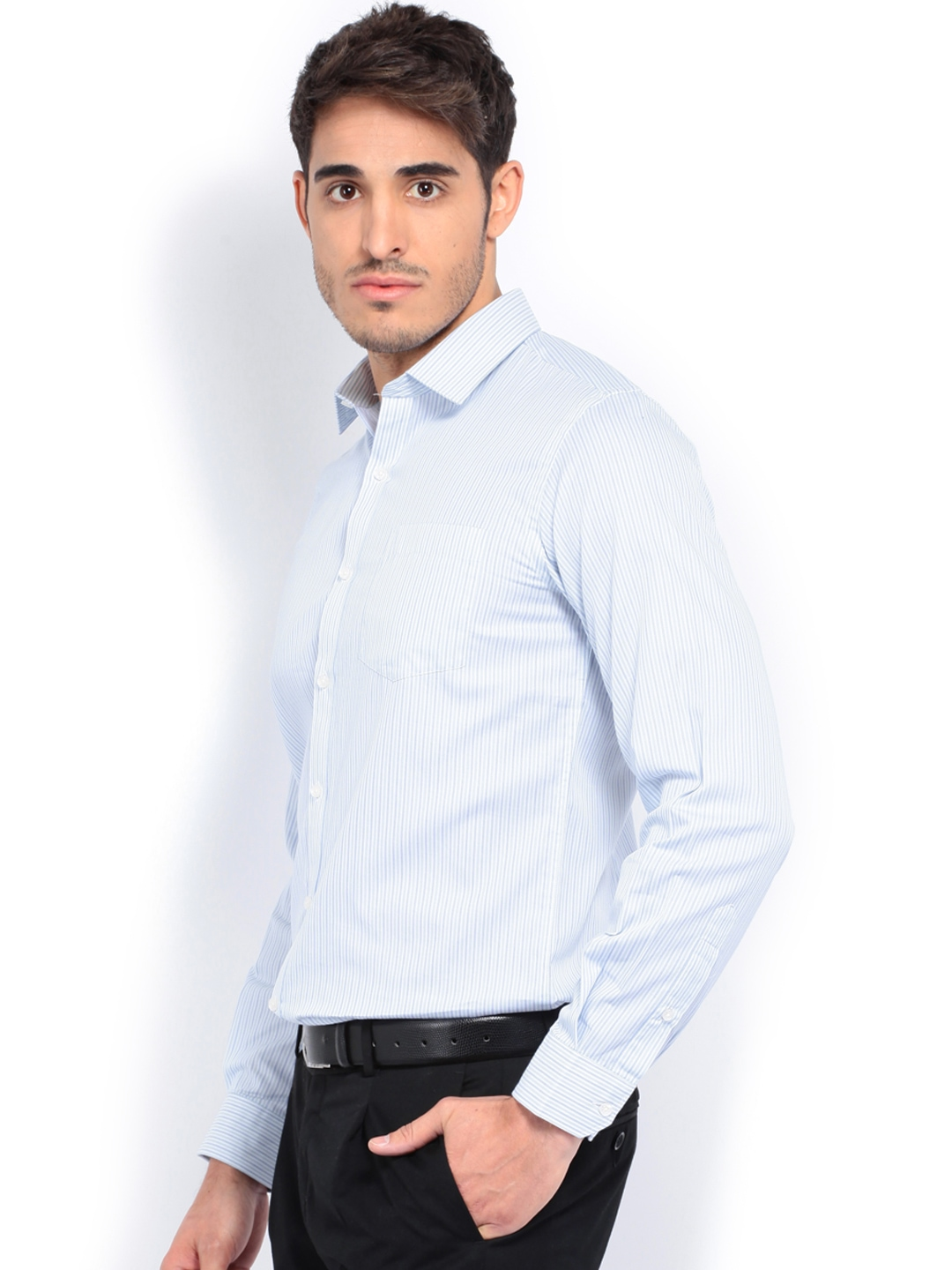 Myntra black coffee men white blue striped slim fit for Boys white formal shirt