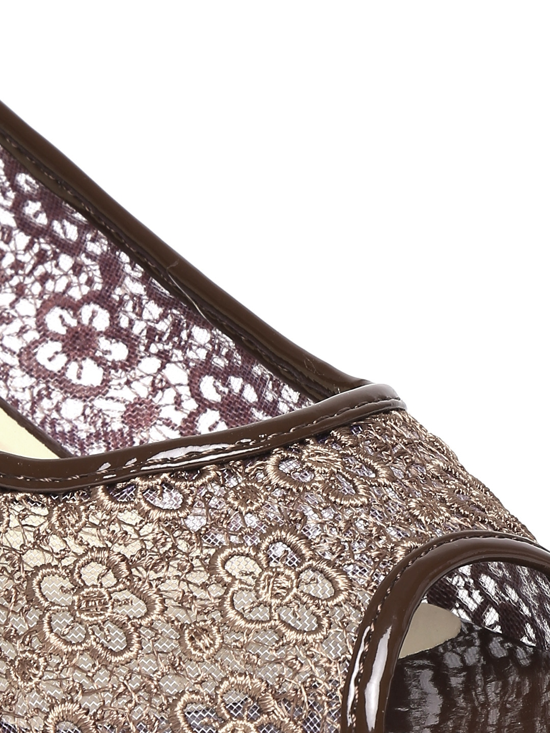 Myntra dressberry women brown embroidered wedges
