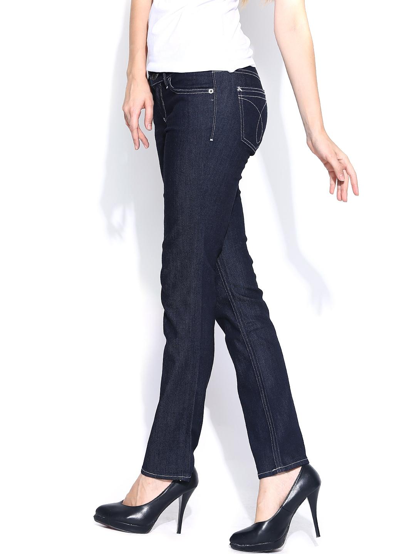 Myntra Calvin Klein Jeans Women Navy Slim Fit Jeans 670074 ...