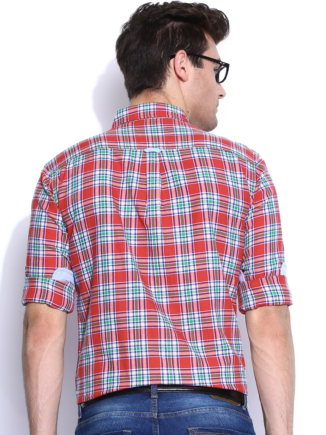 Myntra harvard red green checked vintage brushed twill for Red and green checked shirt