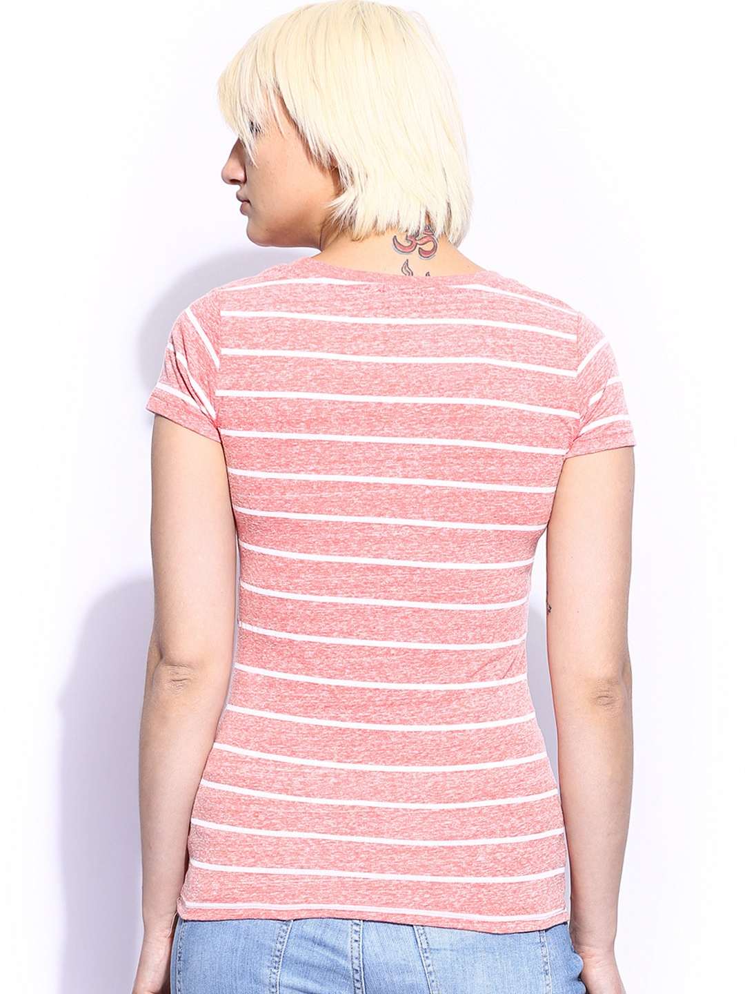 Myntra Fox Women Pink White Striped T Shirt 670880 Buy