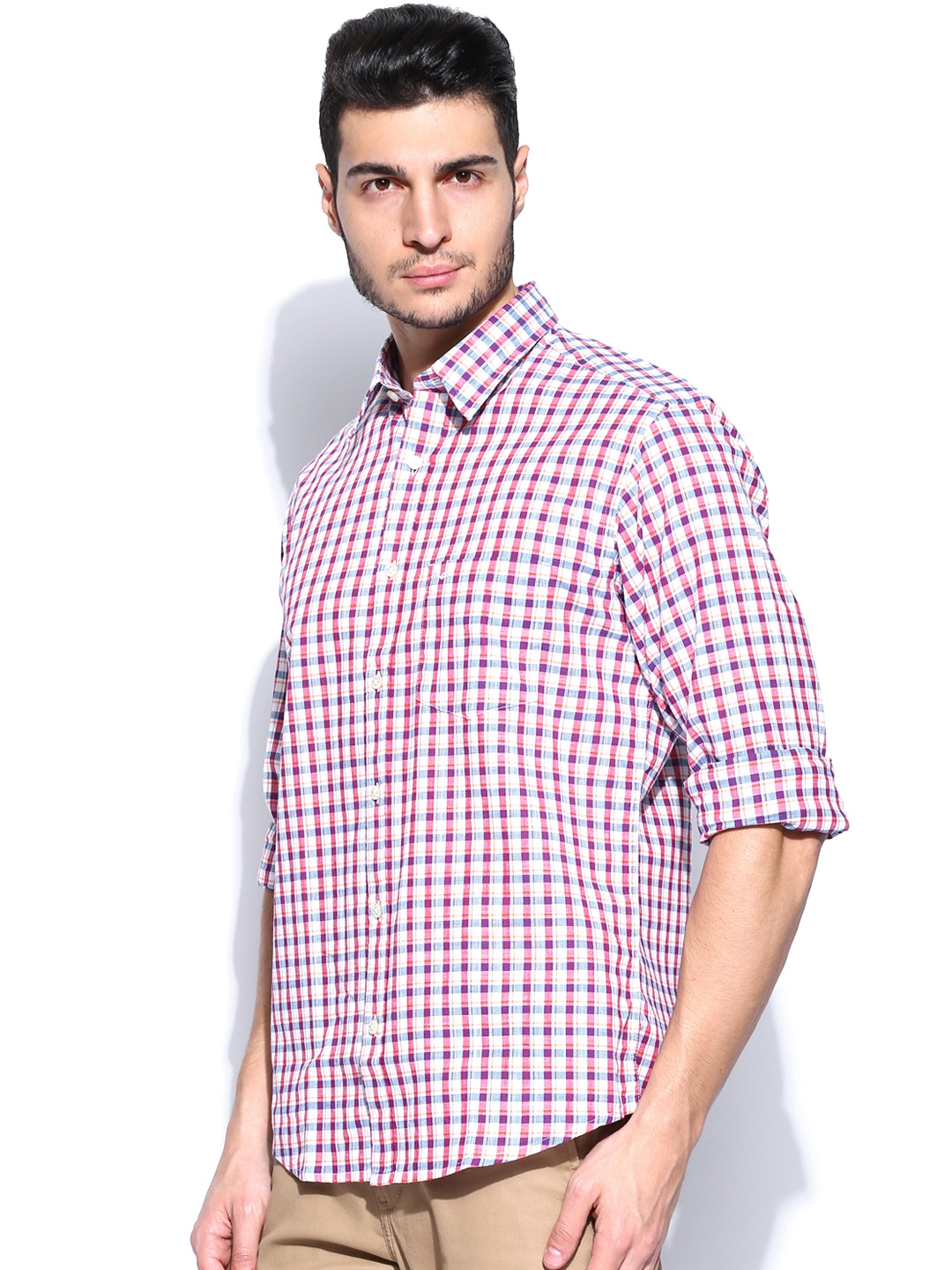 Myntra Colorplus Men White Red Checked Tailored Fit