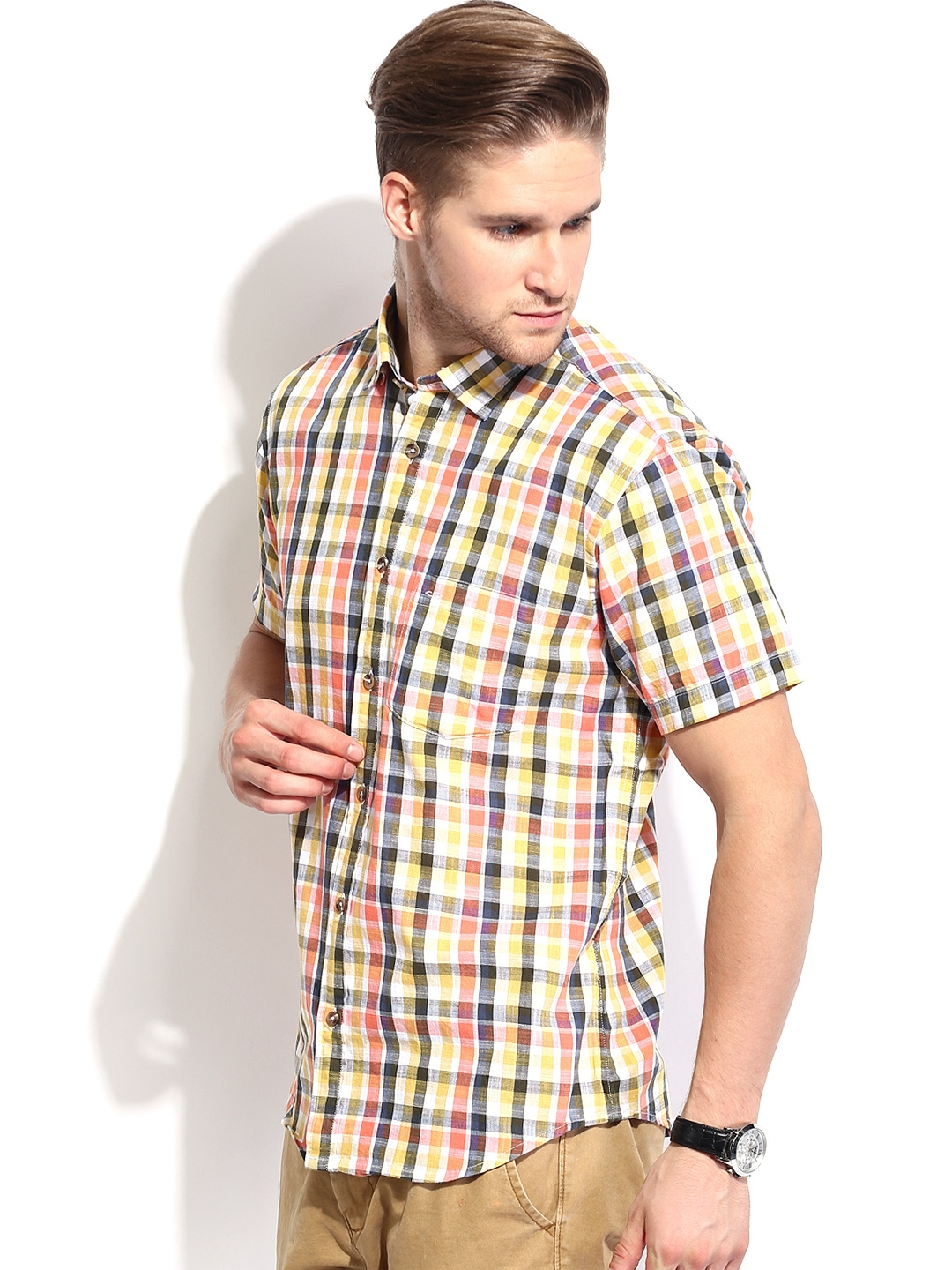 Myntra colorplus men multicoloured checked tailored fit for Tailor dress shirt cost