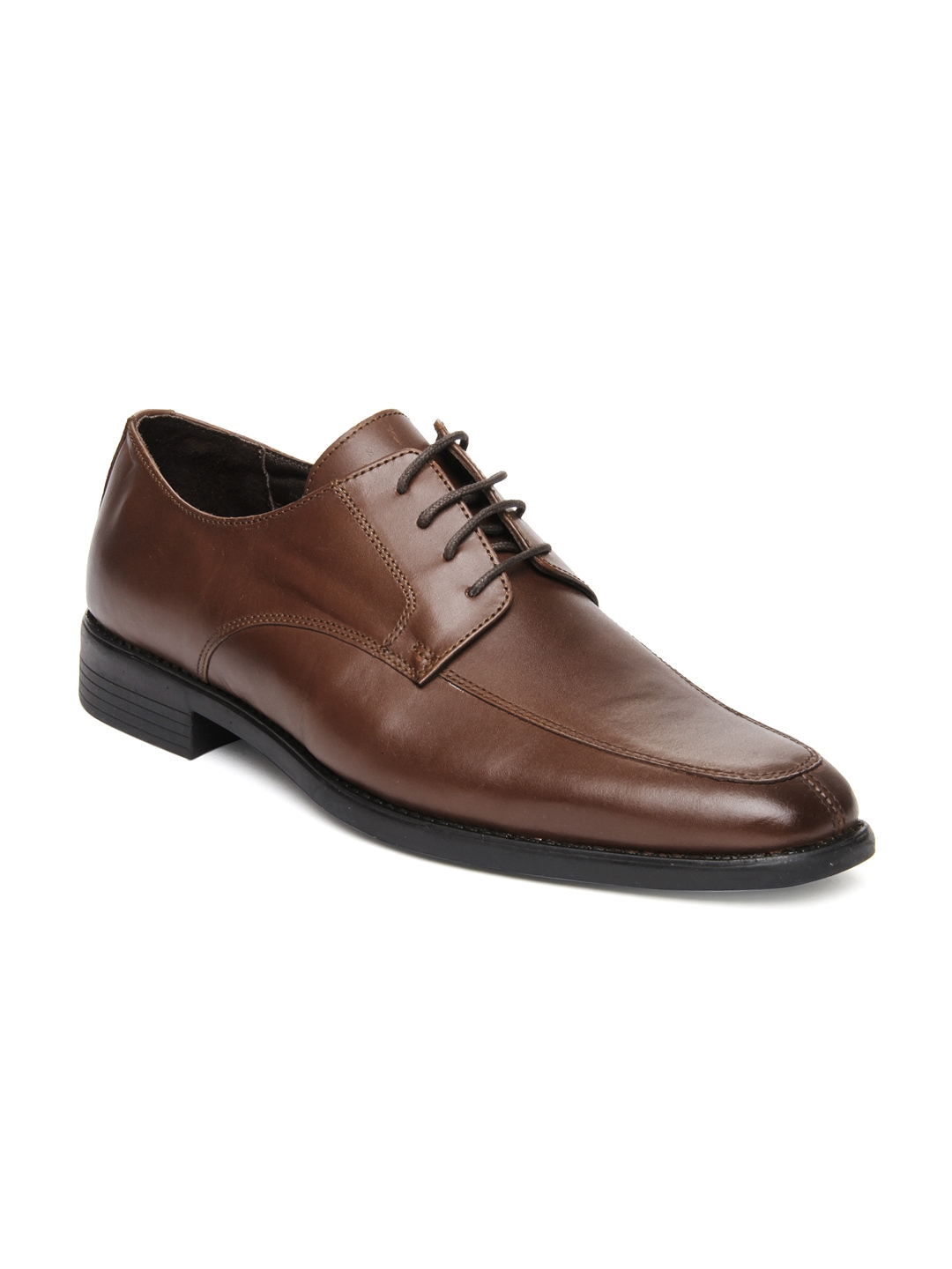 myntra heusen brown leather derby formal shoes