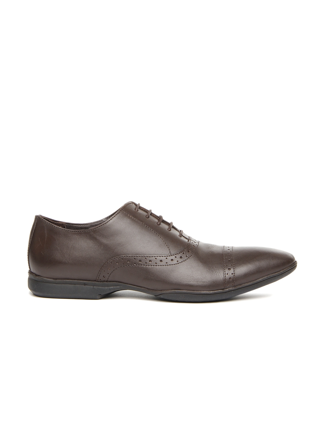 myntra heusen brown leather formal shoes 672424