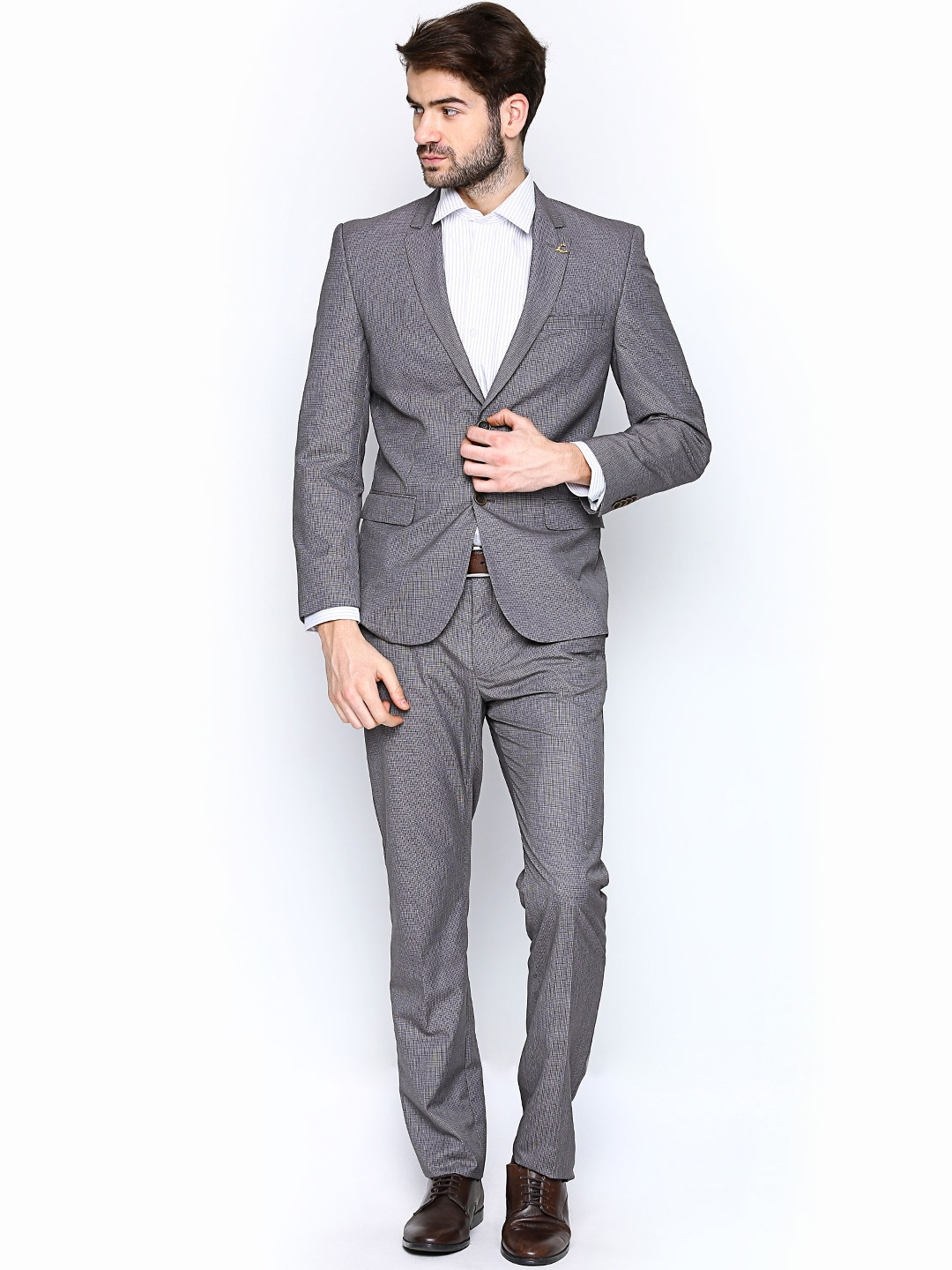 Buy Allen Solly Men Grey Single Breasted Formal Suit - Suits for