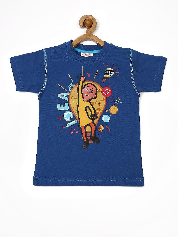 Myntra motu patlu boys blue printed t shirt 673719 buy for Boys printed t shirts