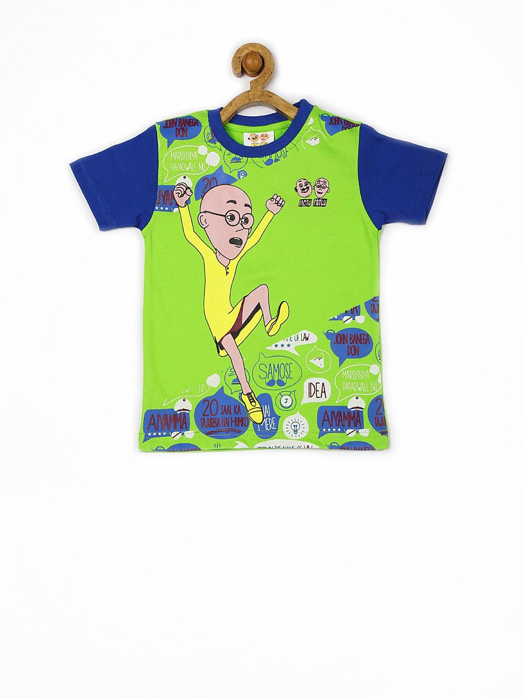 Myntra motu patlu boys green printed t shirt 673726 buy for Boys printed t shirts