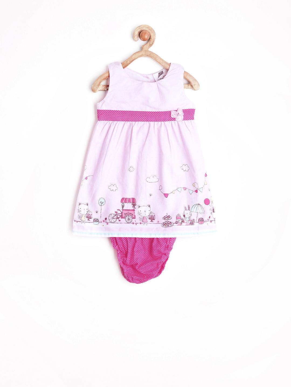 Myntra Yellow Kite Baby Girls Pink Printed A line Dress