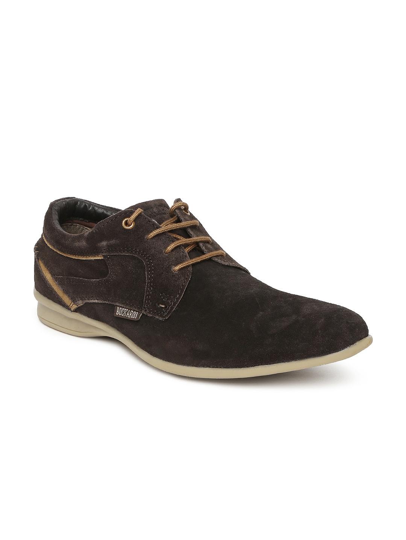 myntra buckaroo black elastro leather casual shoes