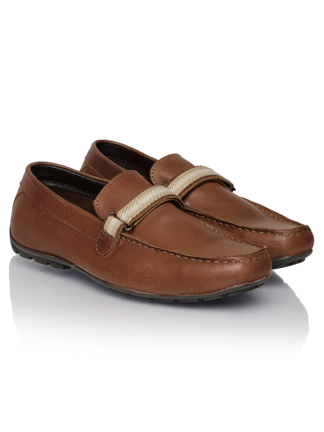 myntra numero uno brown leather loafers 675599 buy