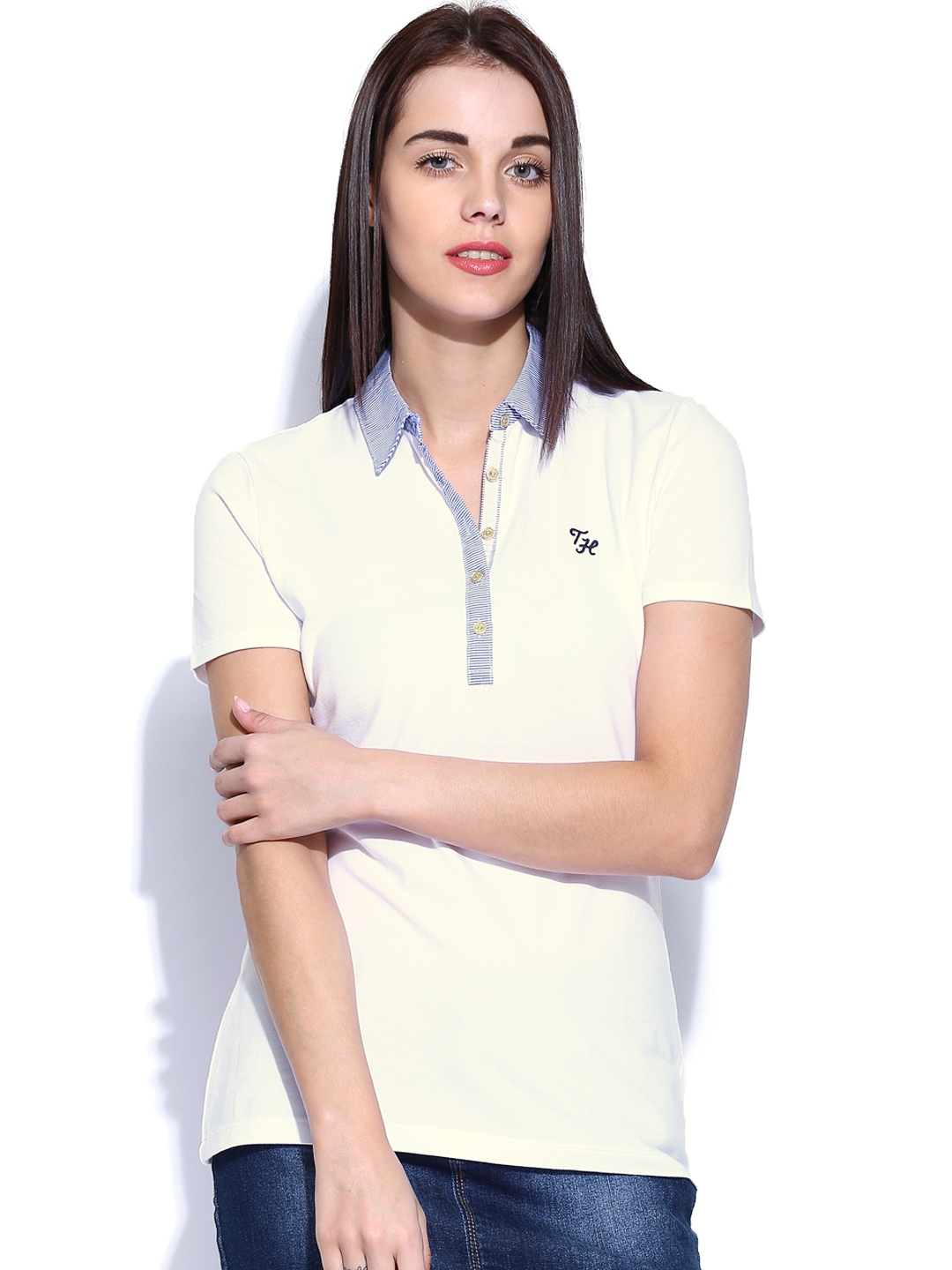 tommy hilfiger women white polo t shirt at myntra. Black Bedroom Furniture Sets. Home Design Ideas