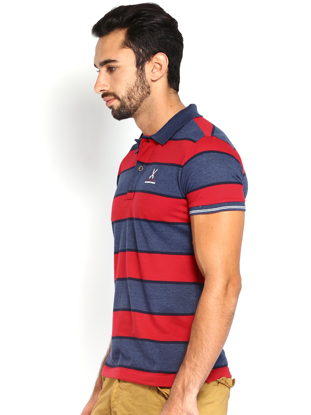 Myntra status quo men red blue striped polo t shirt for Red blue striped shirt