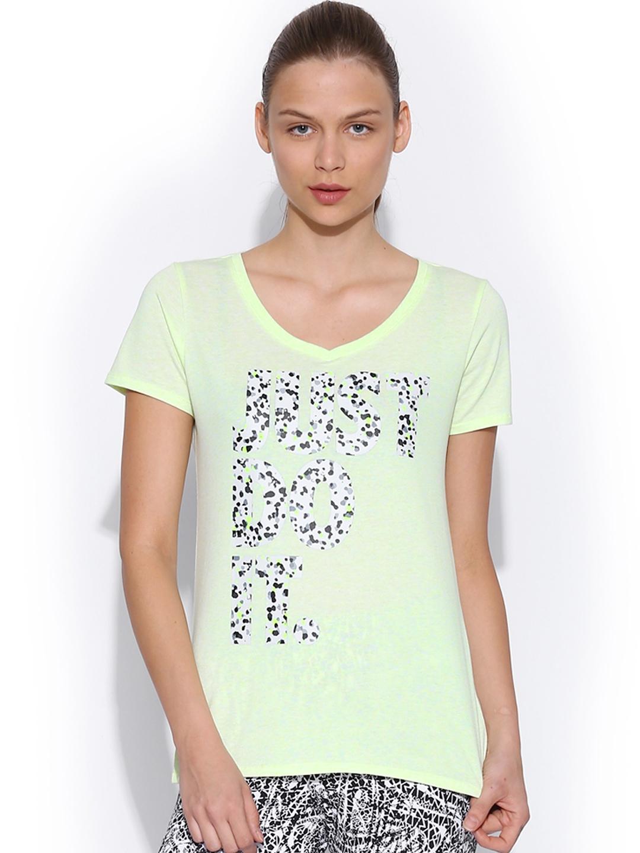 Myntra nike women black dri fit wool henley t shirt 472925 for Neon printed t shirts