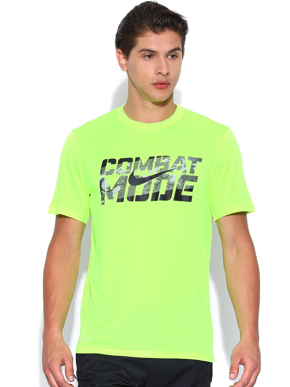 Myntra Nike Men Neon Green Printed Combat Mode T Shirt