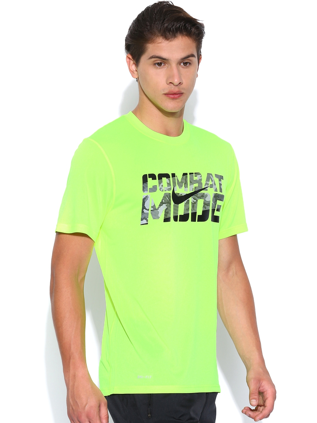 Myntra nike men neon green printed combat mode t shirt for Neon green shirts for men