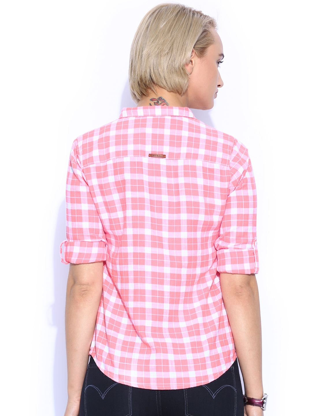 Buy Mast & Harbour Women Pink & White Checked Shirt - Shirts for ...