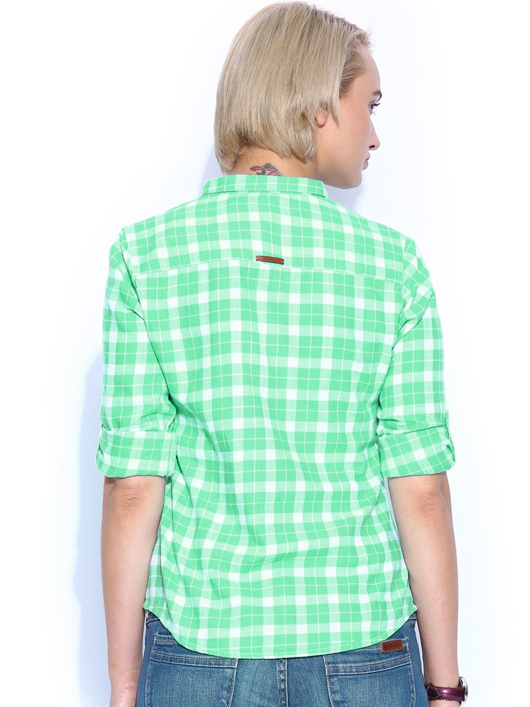 Home clothing women clothing shirts mast harbour shirts for Womens green checked shirt