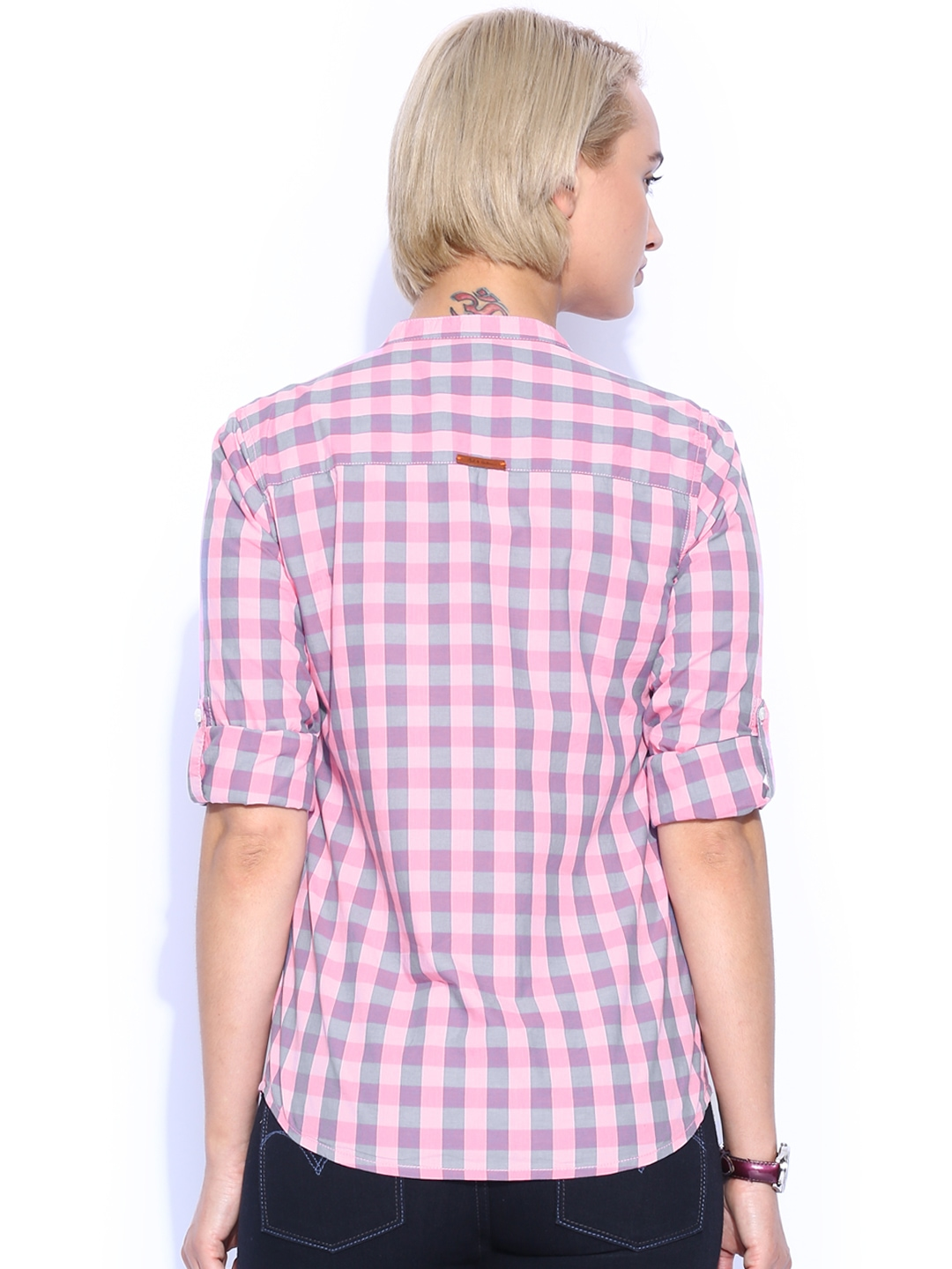 Myntra Mast Harbour Women Pink Grey Checked Casual